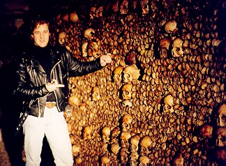Neal Stevens in the catacombs beneath Paris