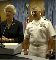 USS TEXAS SUBMARINE SKIPPER JOHN LITHERLAND, GLAVESTON MAYOR LYDA ANN THOMAS