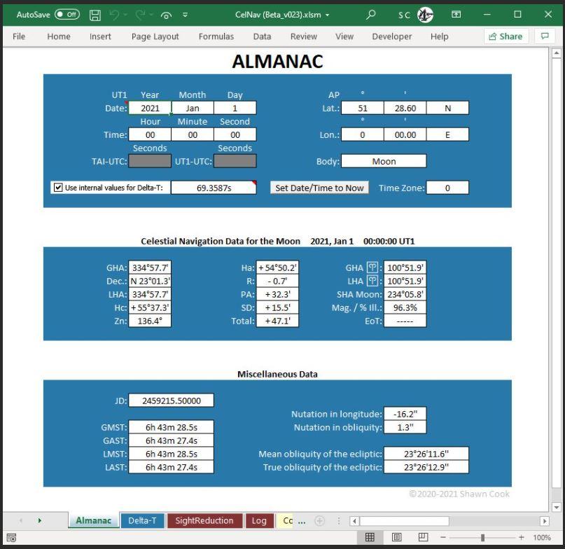 Almanac and Celestial Navigation Calculator