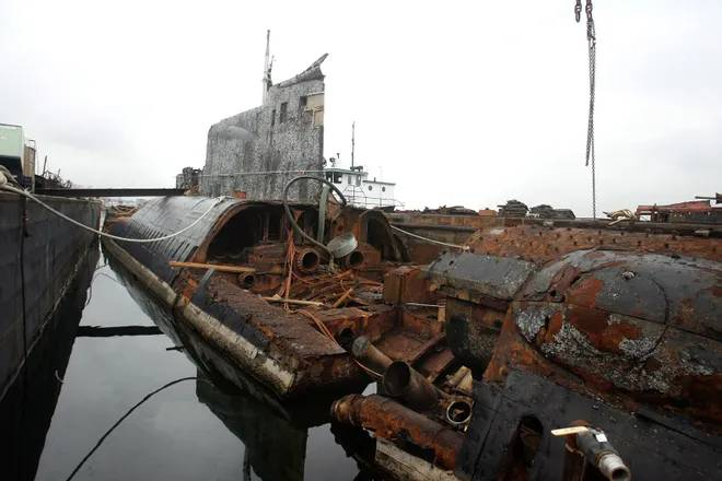 Russian sub used in Harrison Ford movie catches fire in Providence scrapyard