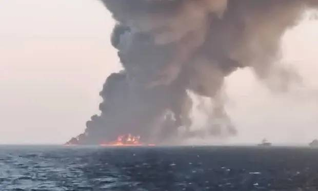 Iran's Largest Navy Ship Sinks In Gulf Of Oman After Catching Fire